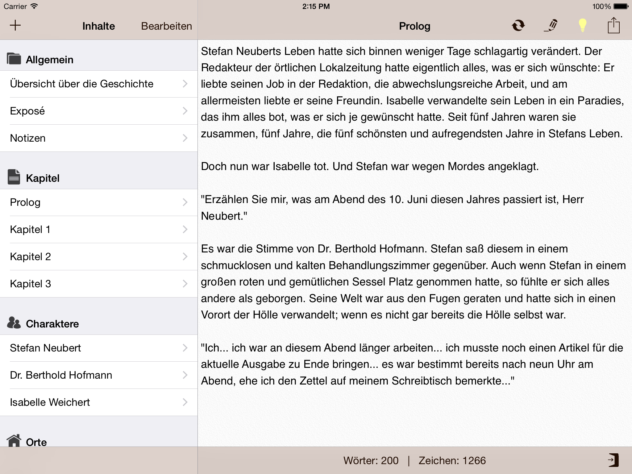 Help for writers app
