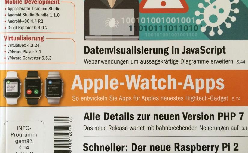 """Fachartikel """"App-Entwicklung für die Apple Watch"""" in der web & mobile developer 5/2015"""