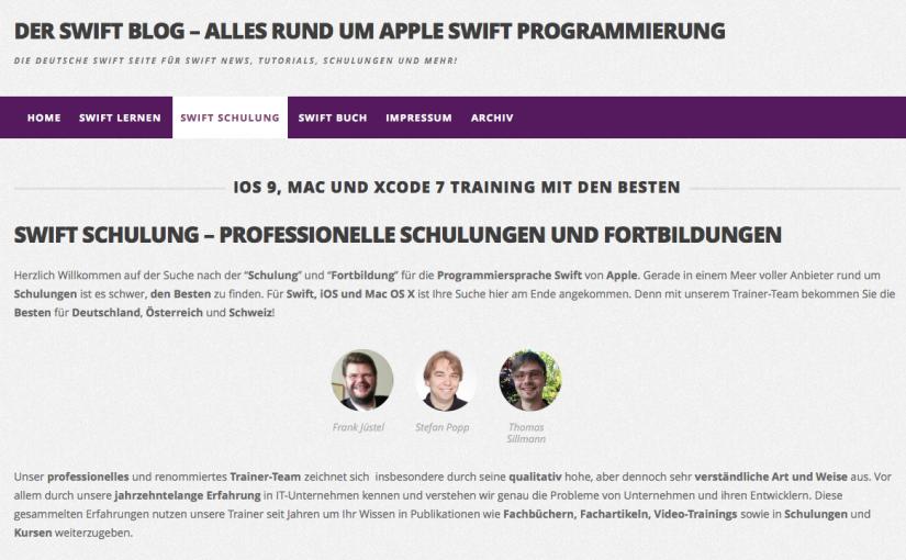 Über meine Tätigkeit als Trainer und Autor auf Swift-Blog.de