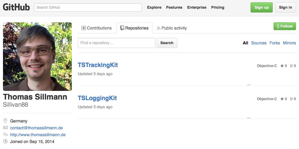 Auf meinem persönlichen GitHub-Profil stelle ich zukünftig Beispielprojekte und eigens entwickelte Frameworks bereit.