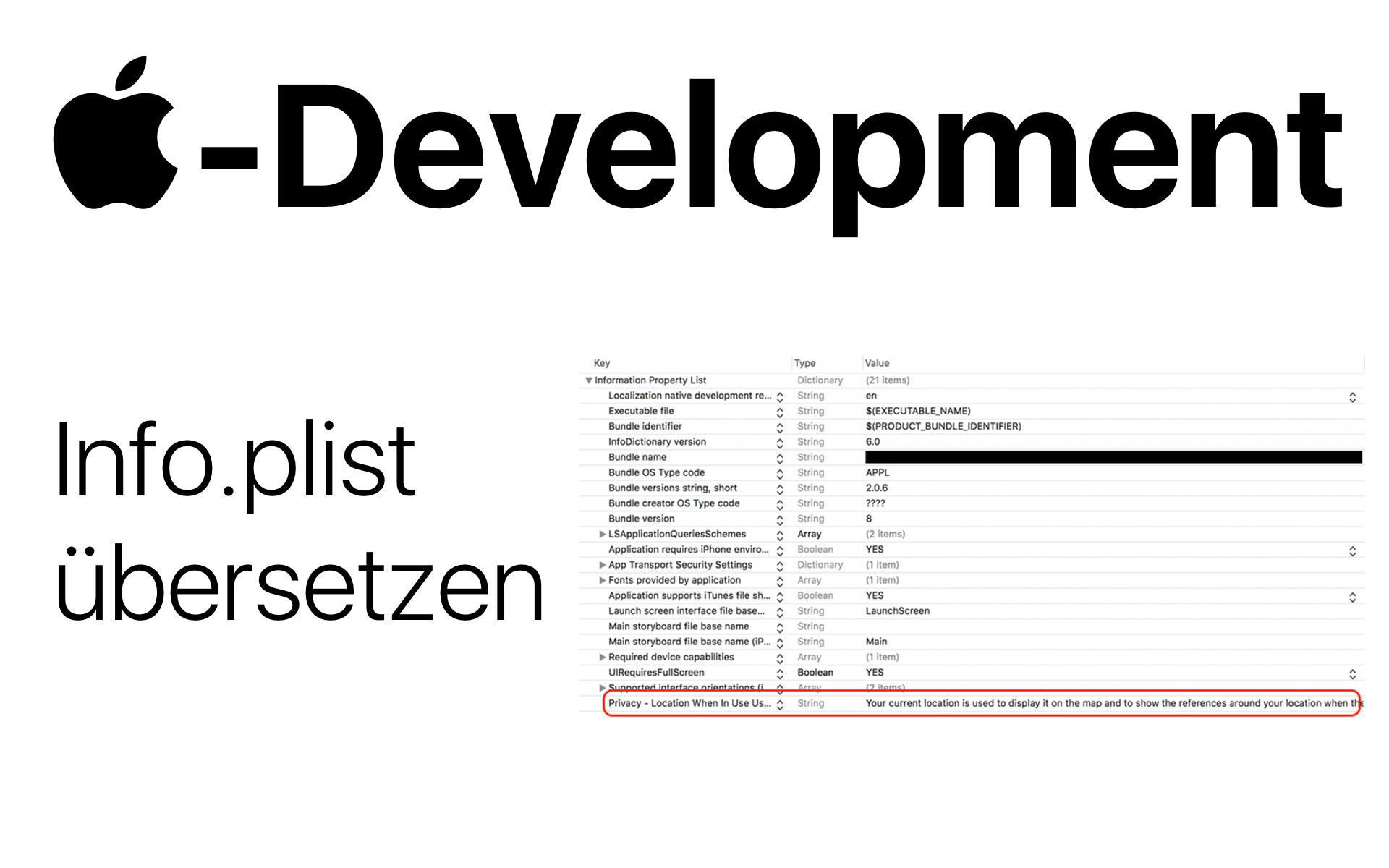 -Development: Strings in der Info.plist-Datei übersetzen