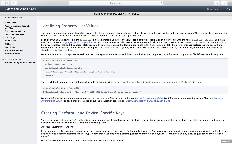 In seiner Dokumentation beschreibt Apple, wie sich Strings der Info.plist-Datei übersetzen lassen.