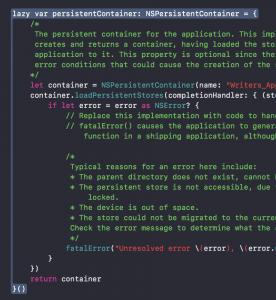 Zusammengehörige Code-Rümpfe können nun in Xcode 9 farblich hervorgehoben werden.